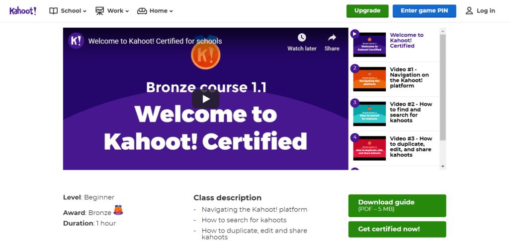 Program Kahoot Certified - Kursus Bronze