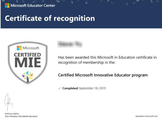 Muat Turun Sijil Pengiktirafan di Microsoft Educator Center