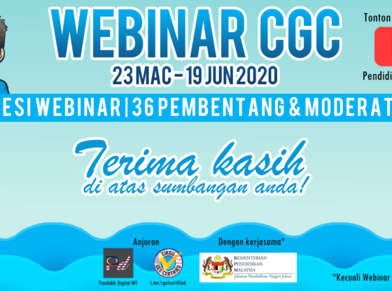 Terima kasih di atas sumbangan Pembentang dan Moderator Webinar CGC