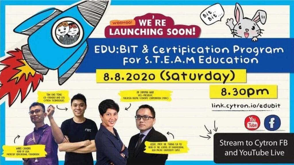 Banner Sesi Pelancaran EDUBIT oleh Cytron Technologies pada 8 Ogos 2020