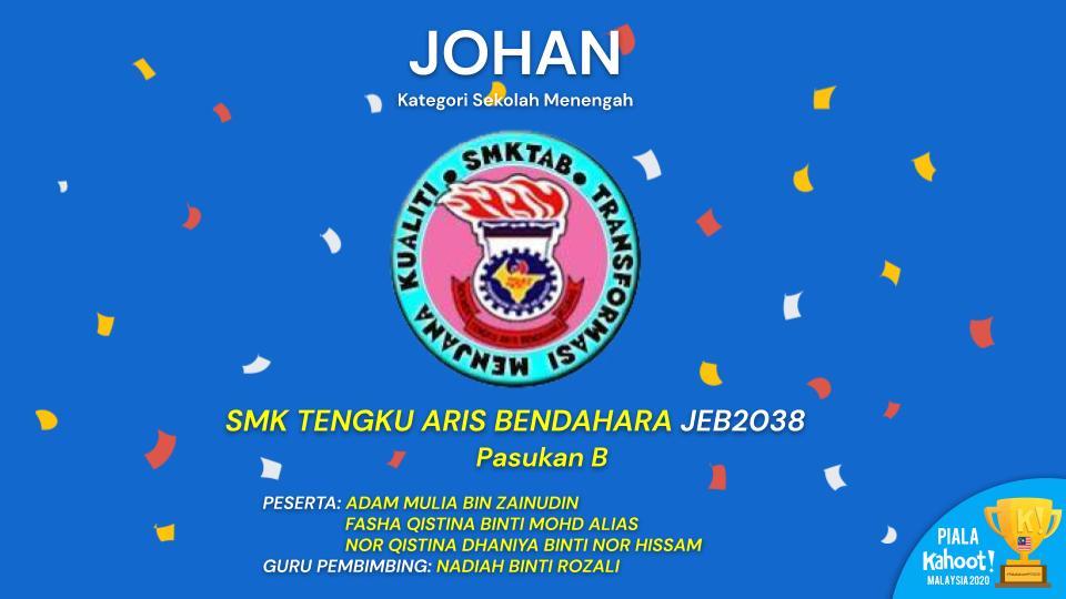 Keputusan Pertandingan Piala Kahoot! Malaysia 2020 (Peringkatan Akhir Sek Men) Johan