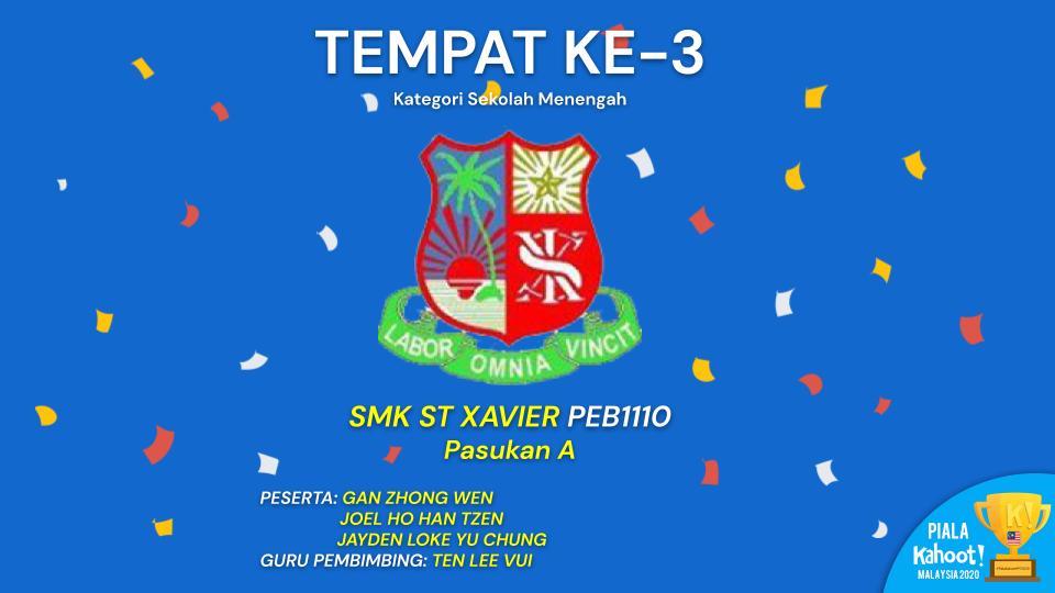 Keputusan Pertandingan Piala Kahoot! Malaysia 2020 (Peringkatan Akhir Sek Men) Tempat ke-3