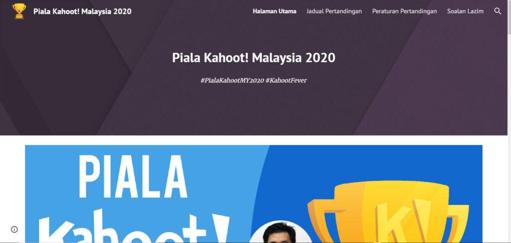 Laman rasmi Pertandingan Piala Kahoot! Malaysia 2020