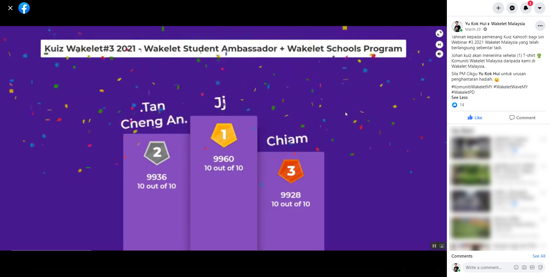 Spice Up Wakelet Training Sessions with Kahoot! - Wakelet Malaysia's First Webinar - Kahoot Challenge Winner Announced